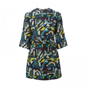 abstract woven mini dress